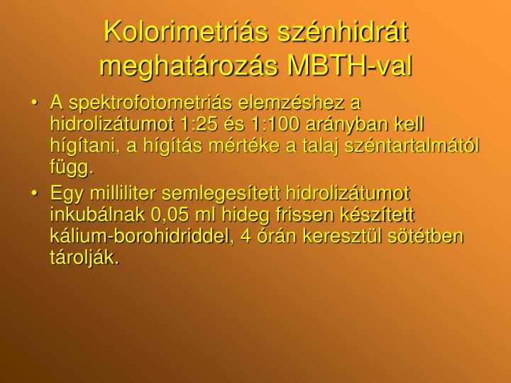 Kolorimetriás szénhidrát meghatározás MBTH-val