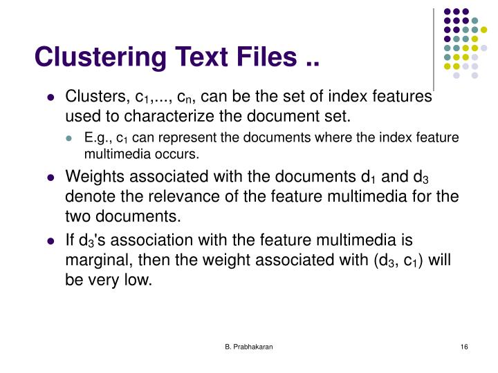 Clustering Text Files ..