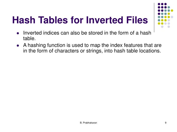 Hash Tables for Inverted Files