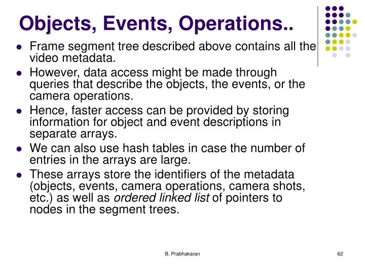 Objects, Events, Operations..