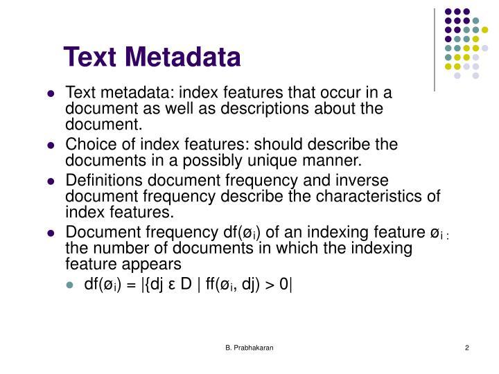 Text metadata