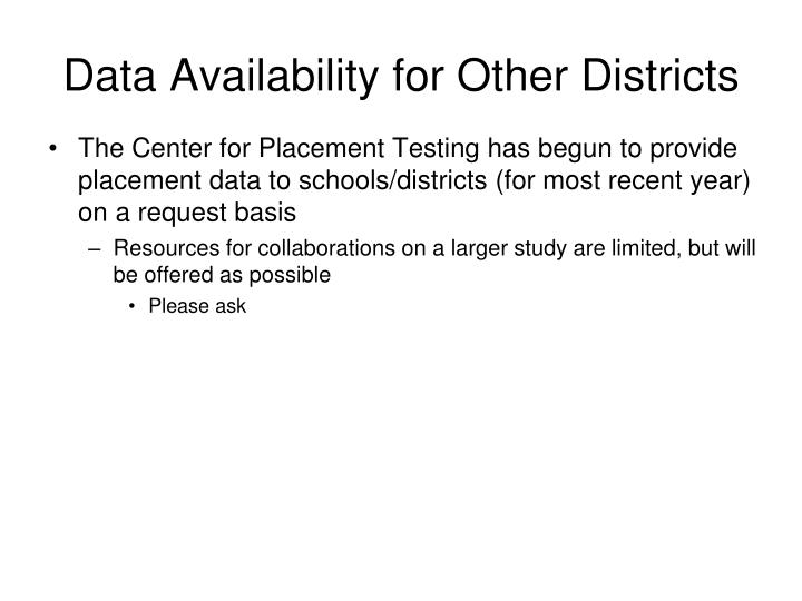 Data Availability for Other Districts