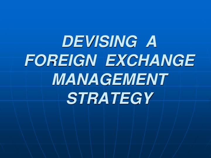 Devising a foreign exchange management strategy