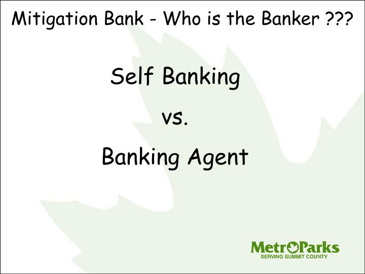 Mitigation Bank - Who is the Banker ???