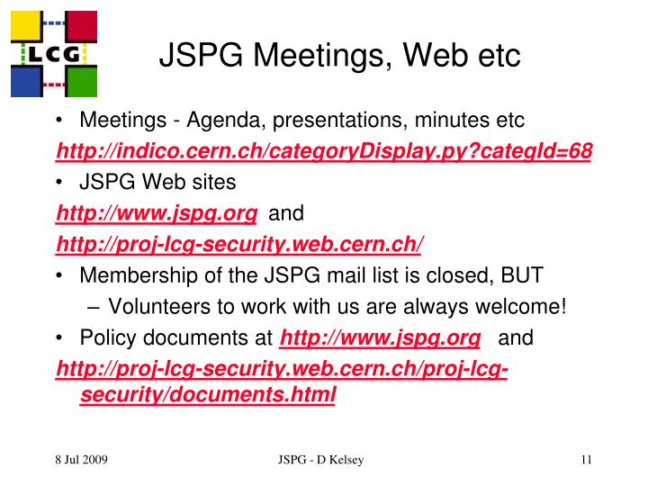 JSPG Meetings, Web etc