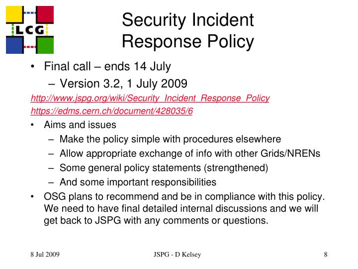 Security Incident Response Policy