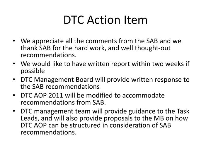 Dtc action item