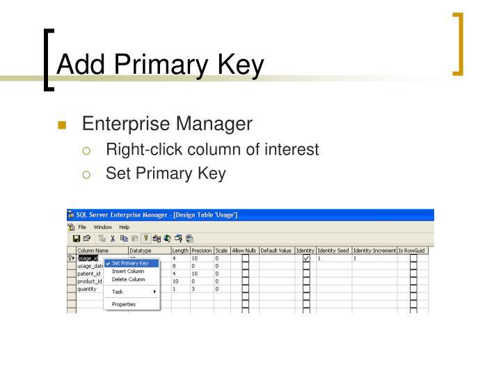 Add Primary Key