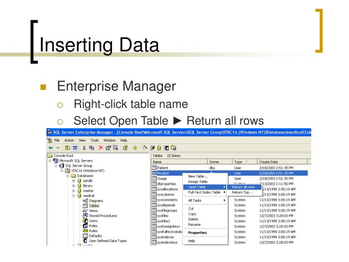 Inserting Data
