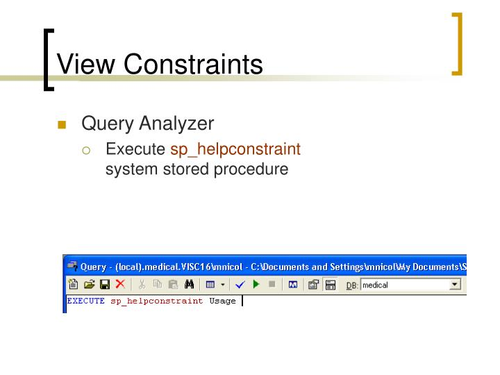 View Constraints
