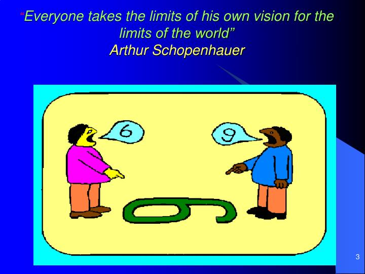 Everyone takes the limits of his own vision for the limits of the world arthur schopenhauer