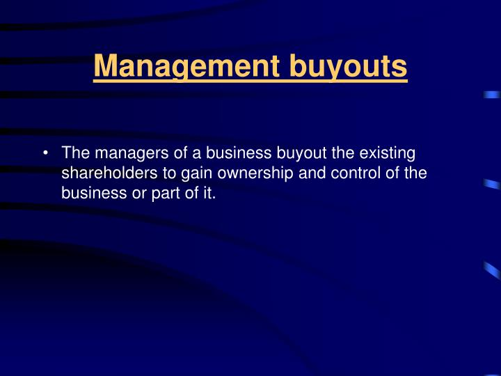 Management buyouts
