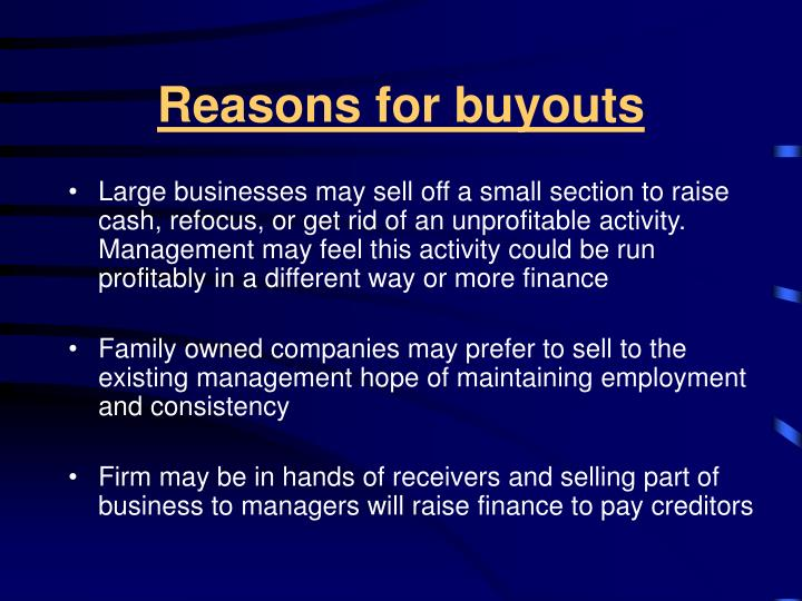 Reasons for buyouts