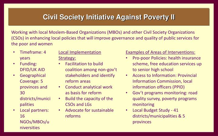Civil Society Initiative Against Poverty II