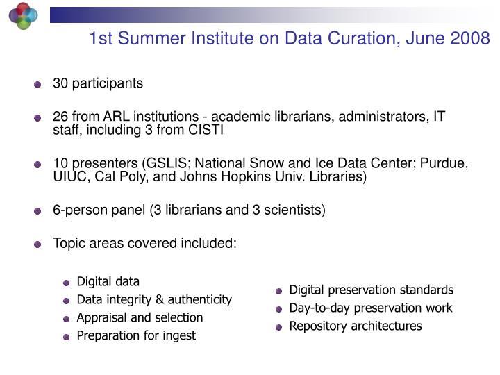 1st Summer Institute on Data Curation, June 2008