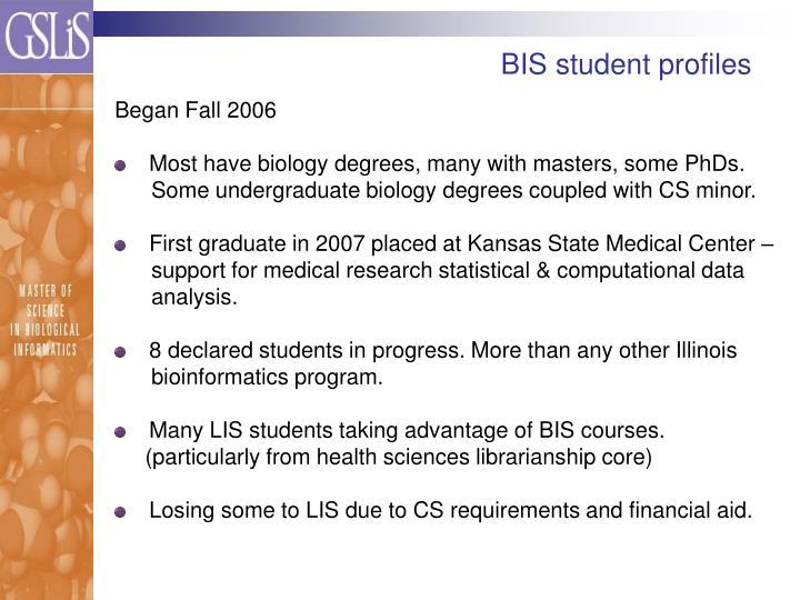 BIS student profiles