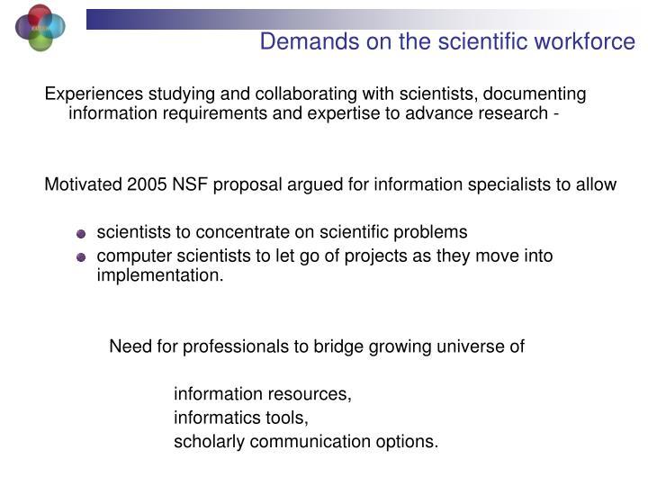 Demands on the scientific workforce