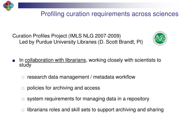 Profiling curation requirements across sciences
