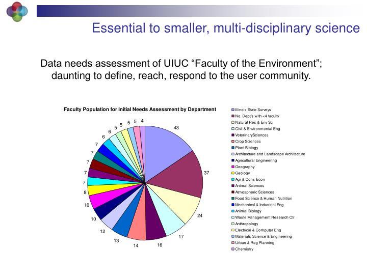 Essential to smaller, multi-disciplinary science