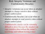 risk integrity violations and confidentiality breaches