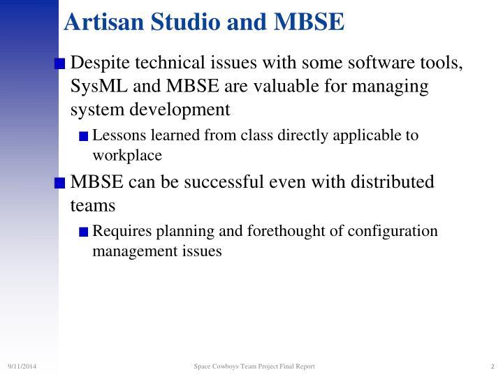Artisan studio and mbse