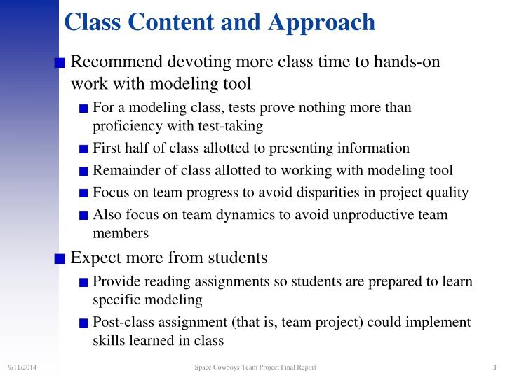 Class content and approach