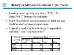 history of maryland sediment impairments