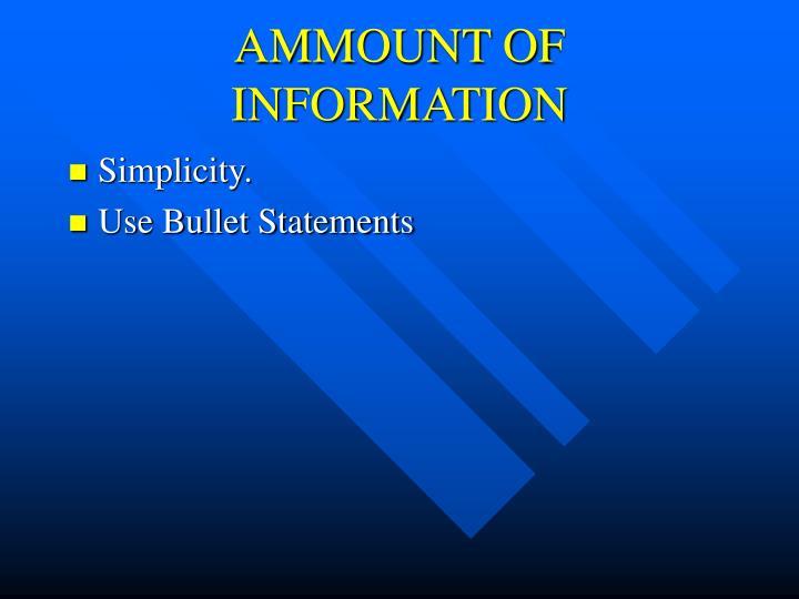 AMMOUNT OF INFORMATION