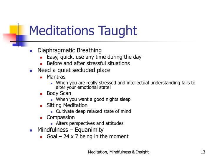 Meditations Taught