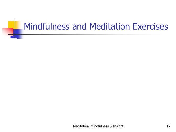 Mindfulness and Meditation Exercises