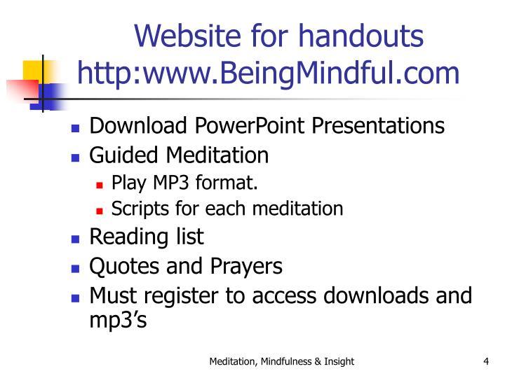 Website for handouts