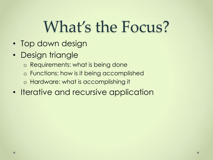What's the Focus?