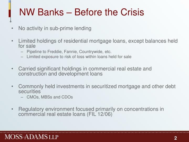 Nw banks before the crisis