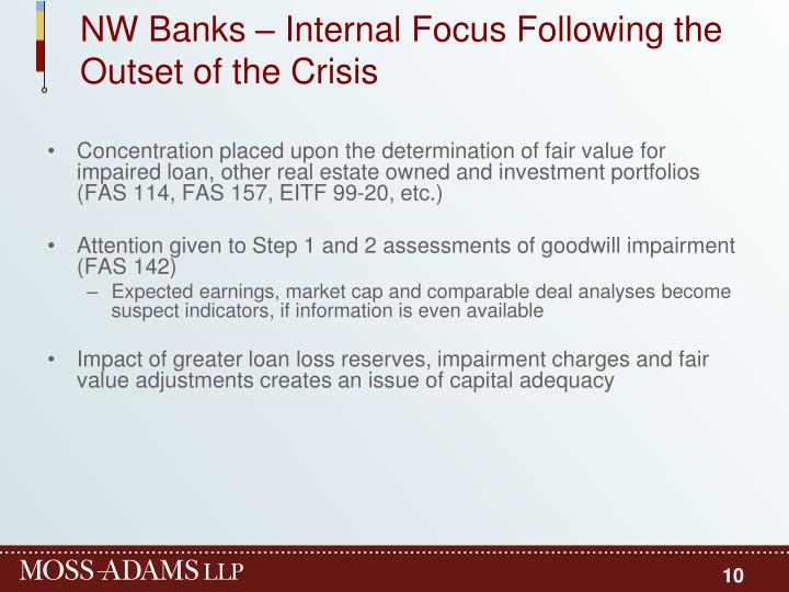 NW Banks – Internal Focus Following the Outset of the Crisis