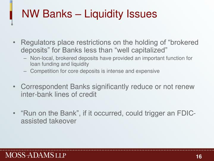 NW Banks – Liquidity Issues