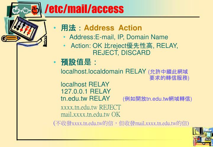 /etc/mail/access