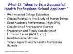 what it takes to be a successful health professions school applicant