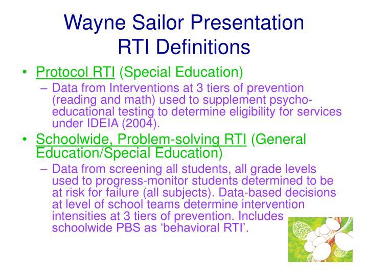 Wayne sailor presentation rti definitions