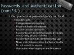 passwords and authentication cont d