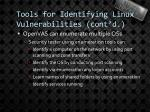 tools for identifying linux vulnerabilities cont d