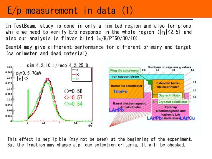 E/p measurement in data (1)
