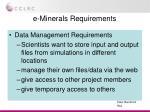 e minerals requirements