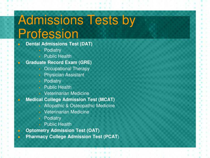 Admissions Tests by Profession