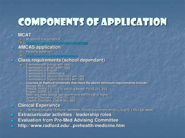 Components of Application