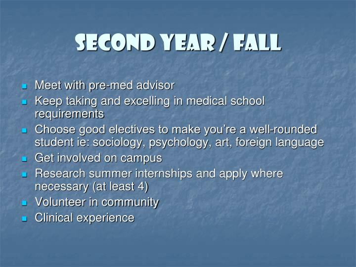 Second year / Fall