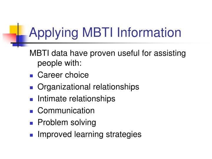 Applying MBTI Information
