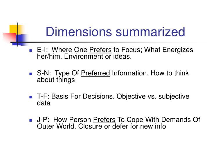Dimensions summarized