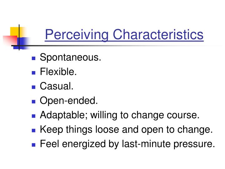 Perceiving Characteristics