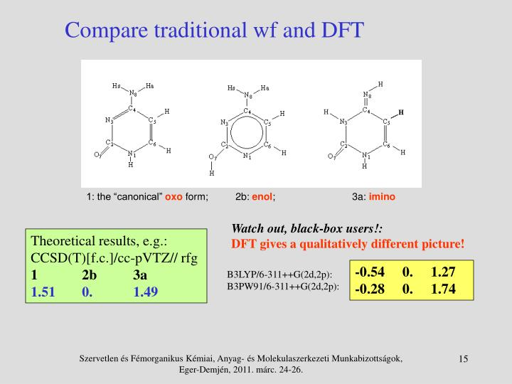 Compare traditional wf and DFT