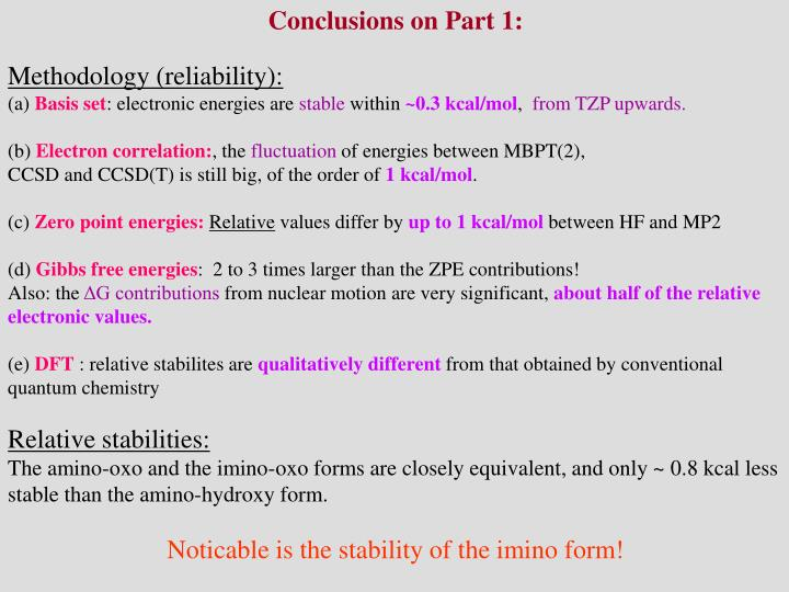 Conclusions on Part 1:
